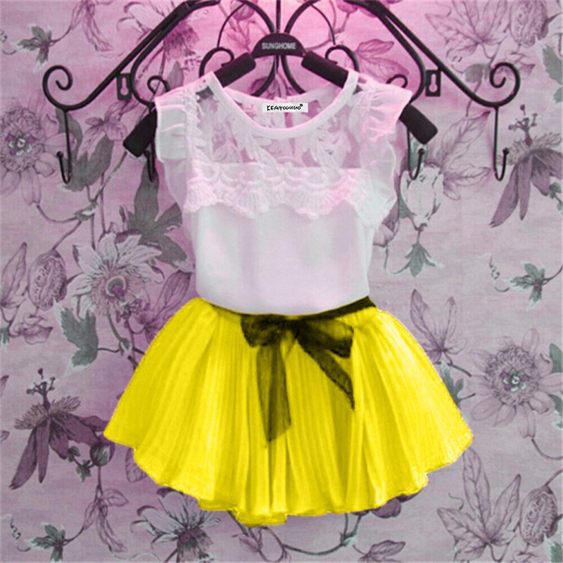 Baby Girls Clothes 2018 Summer girl clothing sets lace T-Shirt+tutu Skirt sets Children 2pcs Suit clothing set 3-4-5-6-7-8 years newborn toddler girls summer t shirt skirt clothing set kids baby girl denim tops shirt tutu skirts party 3pcs outfits set