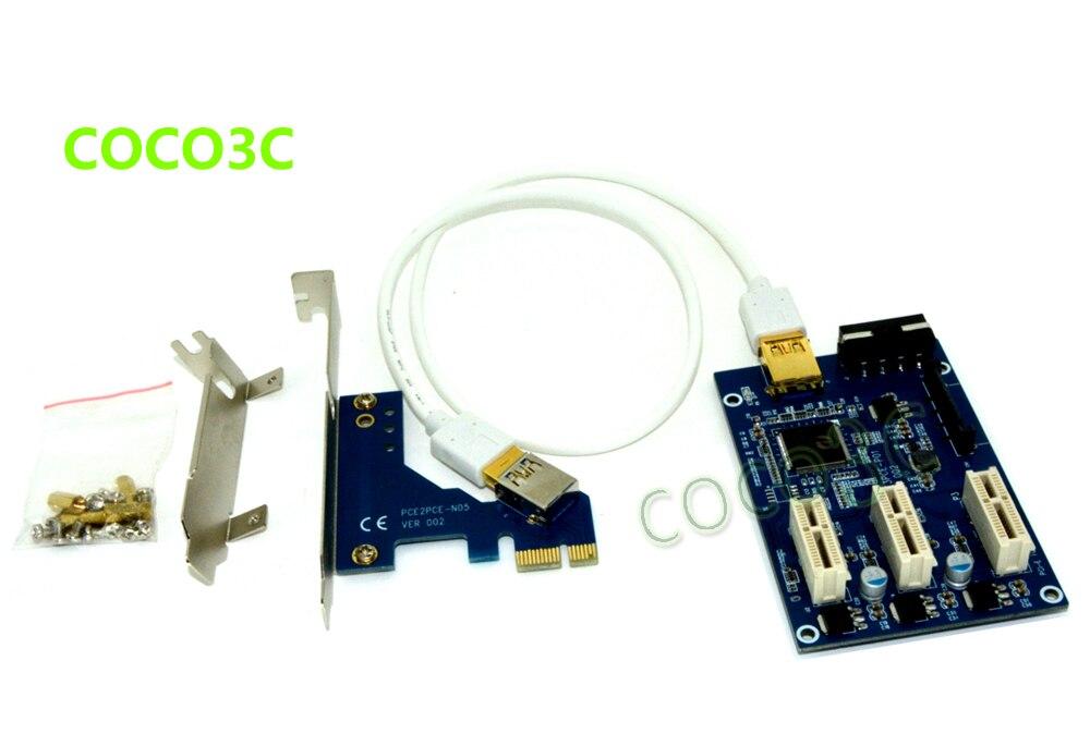 Livraison gratuite 1 à 3 PCI-express x1 slots Riser Carte Externe et Interne adaptateur D'extension PCI-e Port Multiplicateur