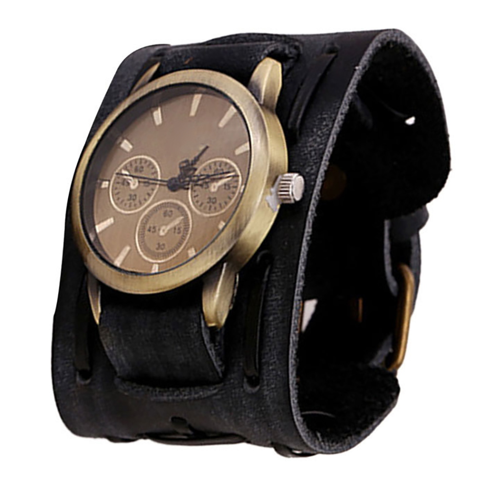 New Style Retro Punk Rock Brown Big Wide Leather Bracelet Cuff Men Watch Cool Brand New High Quality Luxury Free Shipping 0717 punk style golden color men s cuff bracelet