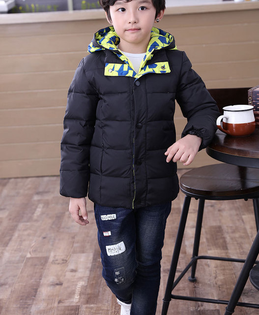 6 to 12 years Boy's Cold Winter Hooded Feather Down Jacket Male Kid's Outwear Orange Black light Gray