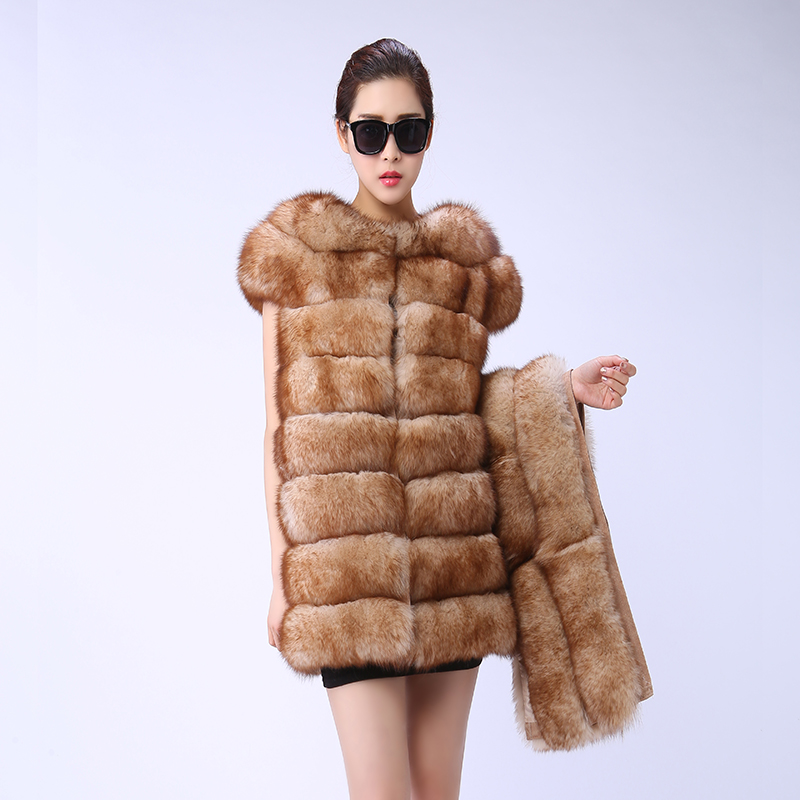 Fourrure Plomb Couleur Picture Manteau Renard Mode De Naturel Longue Imitation Femmes Section Gilet Color Sable dpqFw1f