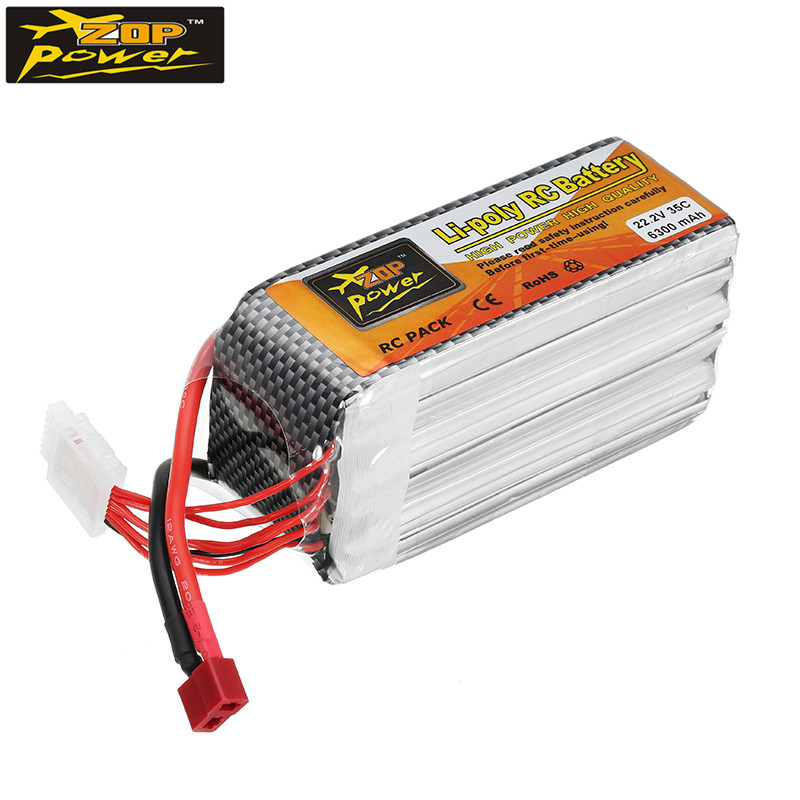 ZOP Power 22.2V 6300mAh 35C 6S Lipo Battery T Plug for 1/10 RC Car Quad Models Toys Rechargeable Spare Parts Accs rechargeable lipo battery zop power 9 6v 1500mah 35c lipo battery jst t plug connection for rc helicopter models accessories