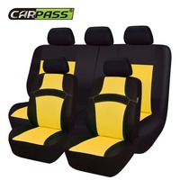 Car pass RAINBOW Full Set Universal Car Seat Covers Car Styling Seat Protector Automobiles Seat Cover for Toyota Corolla Lada VW