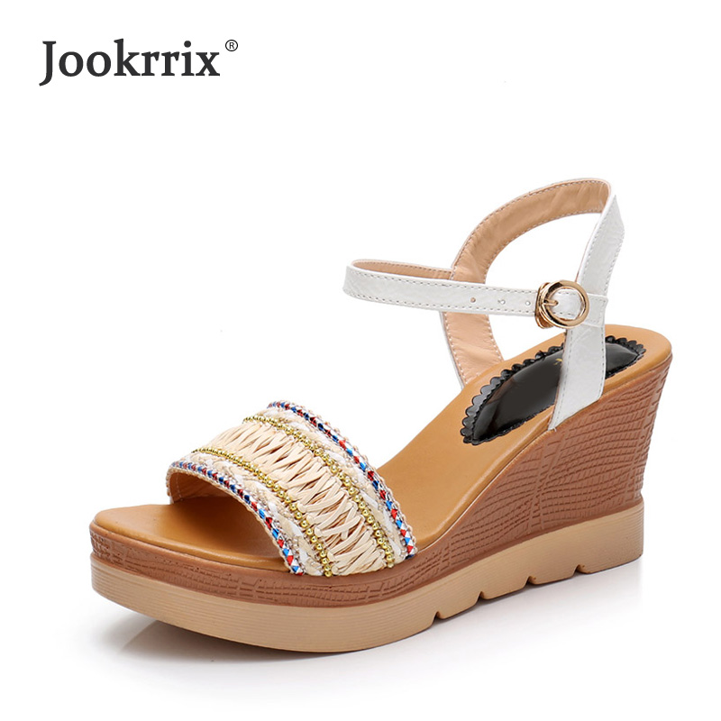 Jookrrix Summer Boho Playa White Shoes Women Wedges Sandal Platform Shoes Lady Buckle Girl Leisure Chaussure High Heel Sandles