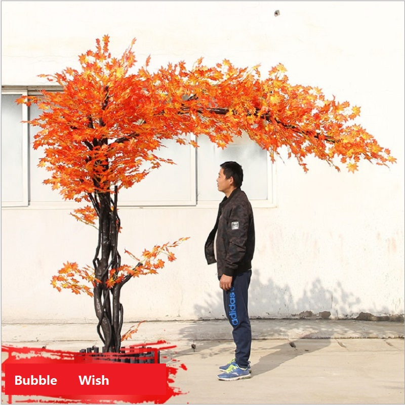 artificial maple tree Red maple tree Large scale simulation of green plants Shop living room decoration plant 1.5 M high - 3