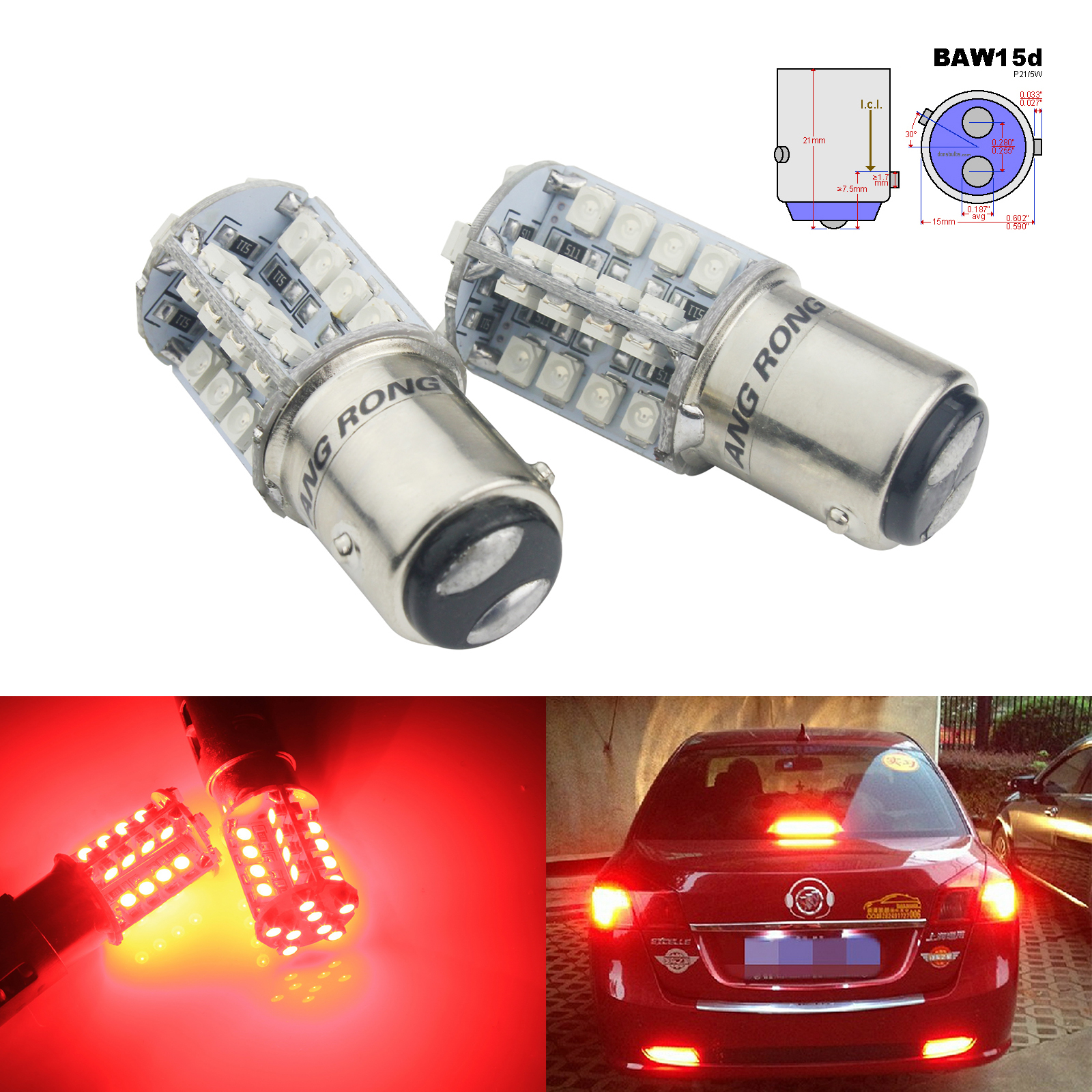 ANGRONG 2pcs BAW15d 567 PR21/5W LED Bulb 40 SMD Tail Stop Brake Rear Fog Light Lamps Red