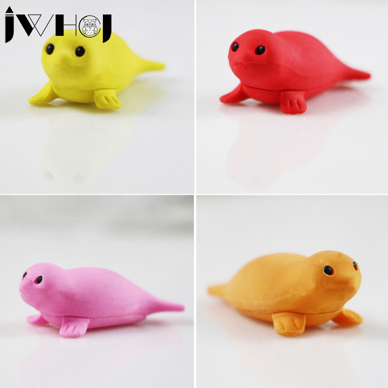 2 Pcs/lot  JWHCJ Cute Cartoon Sea Lions Eraser Kawaii Stationery School Office Supplies Correction Supplies Child's Toy Gifts