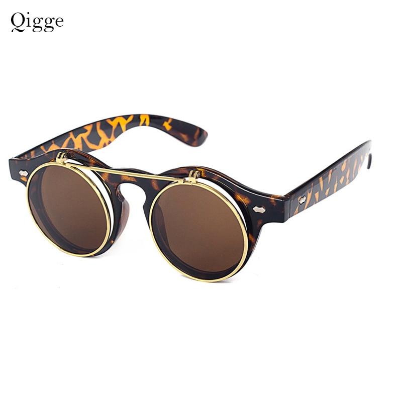 Qigge Moda Vintage Dəyirmi Retro Buxarlı Pəncək Eynəklər - Geyim aksesuarları - Fotoqrafiya 6