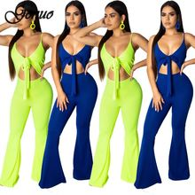 Genuo New Sexy V neck Cami Wide Legs Jumpsuit Women Sleeveless Bodycon Party Rompers Female Casual Summer Jumpsuits