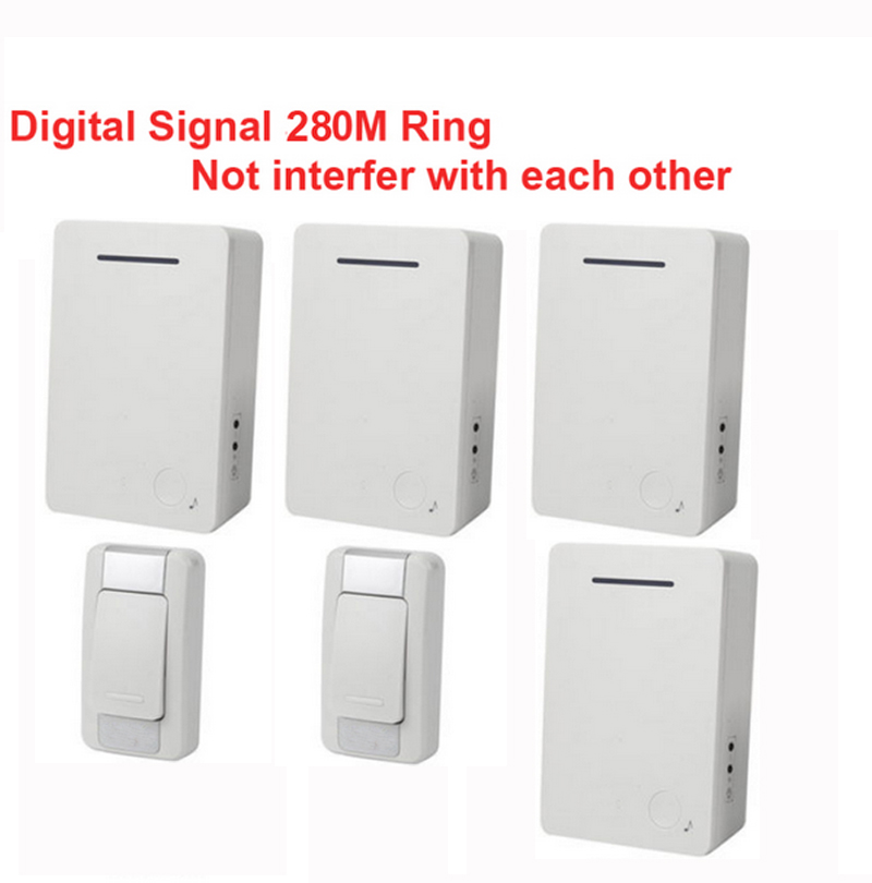 D28 2-4 wireless door bell kits w/ 2 emitter+4 receiver &power by AA battery doorbell Waterproof chime door ring digital signal new restaurant equipment wireless buzzer calling system 25pcs table bell with 4 waiter pager receiver