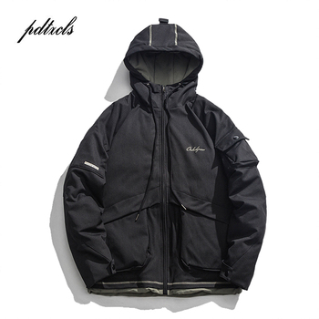 Japan Style Fashionable Brand Vintage Thicken Warm Embroidery Men's Hooded Jackets Winter Casual Cargo Pockets Male Pakars Coats