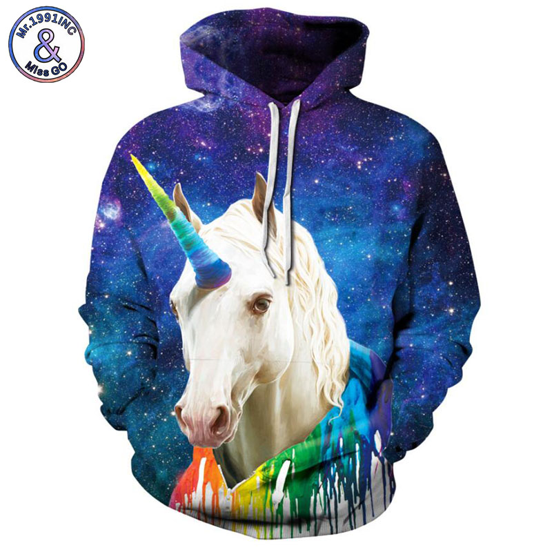 Mr.1991INC starry sky unicorn horse Print Men Hooded Sweatshirt Mix Color casual Pullovers hoodie Men/women Hoodies S-3XL M249