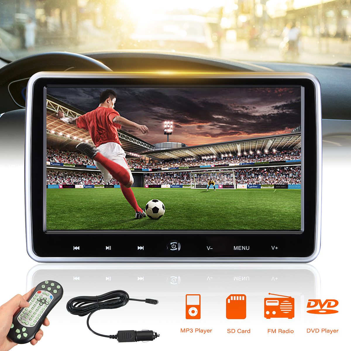 2pcs 1024*600 Car Headrest Monitor 10.1 Inch DVD Player USB/SD/HDMI/FM/Game TFT LCD Screen Touch Button HD Digital LCD Screen 2x 10 1 inch 1024 600 car headrest monitor dvd player usb sd hdmi fm game tft lcd screen touch button support wireless headphone