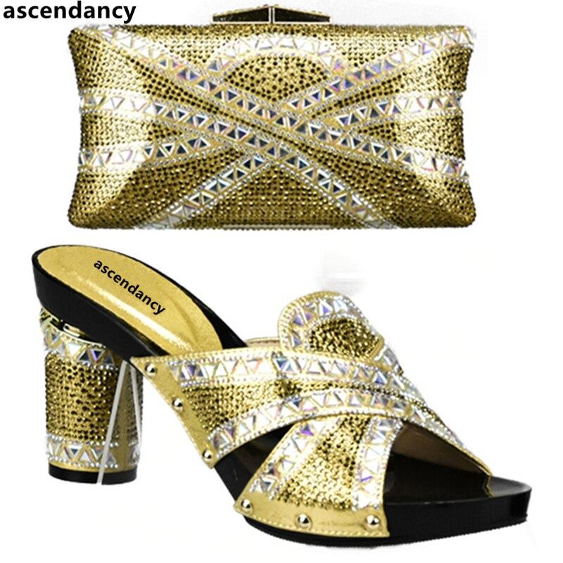 bleu Chaussures Couleur vert argent Femmes Noir Sac or De Nigérians Strass Mariage Décoré jaune Italiennes Et Ensemble Or Africaines Avec CeWrdoQxB