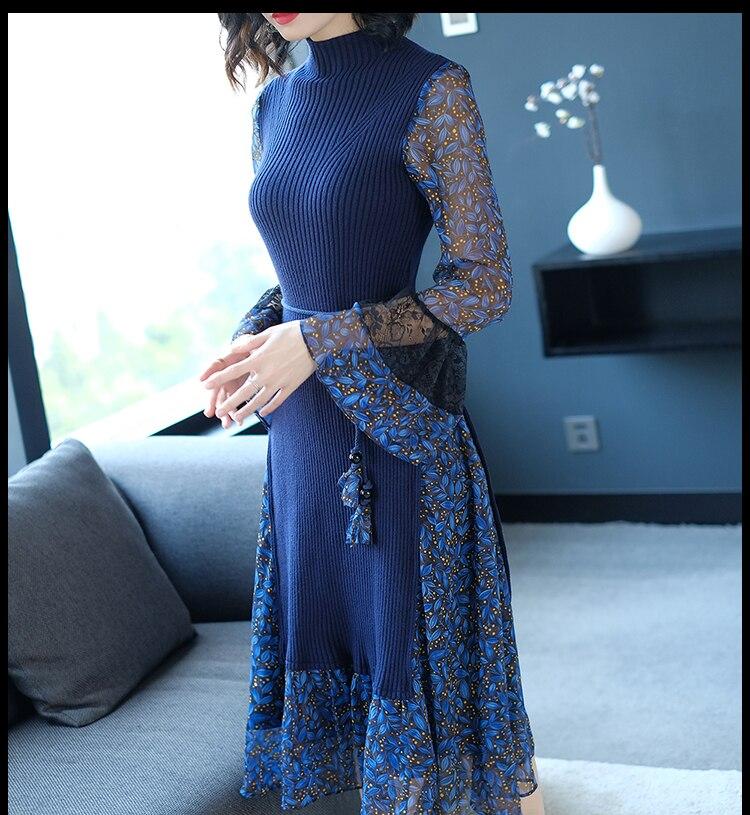 Imprimé Robe Wang Whitney Automne Hiver Femmes 2049 En Streetwear Patchwork Mousseline Floral Tricoté 2018 Élégant De Ww Mode Soie x8d44qnZEw
