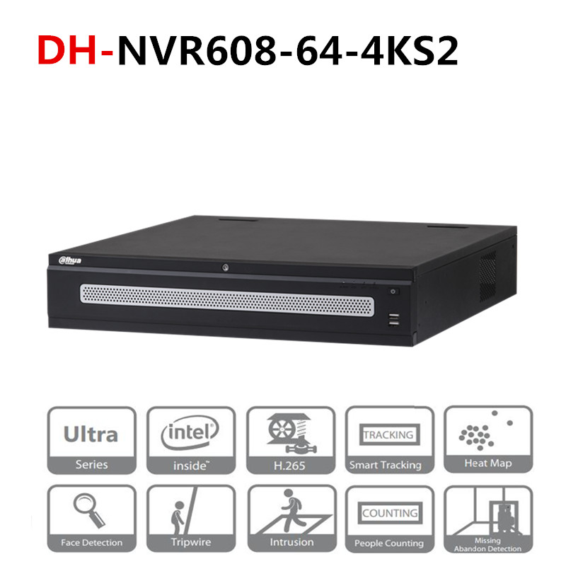 DH 64 Channel Ultra 4K H 265 Network Video Recorder DH-NVR608-64-4KS2 With  DH Logo 8 Sata Ports 2 HDMI Display 12MP