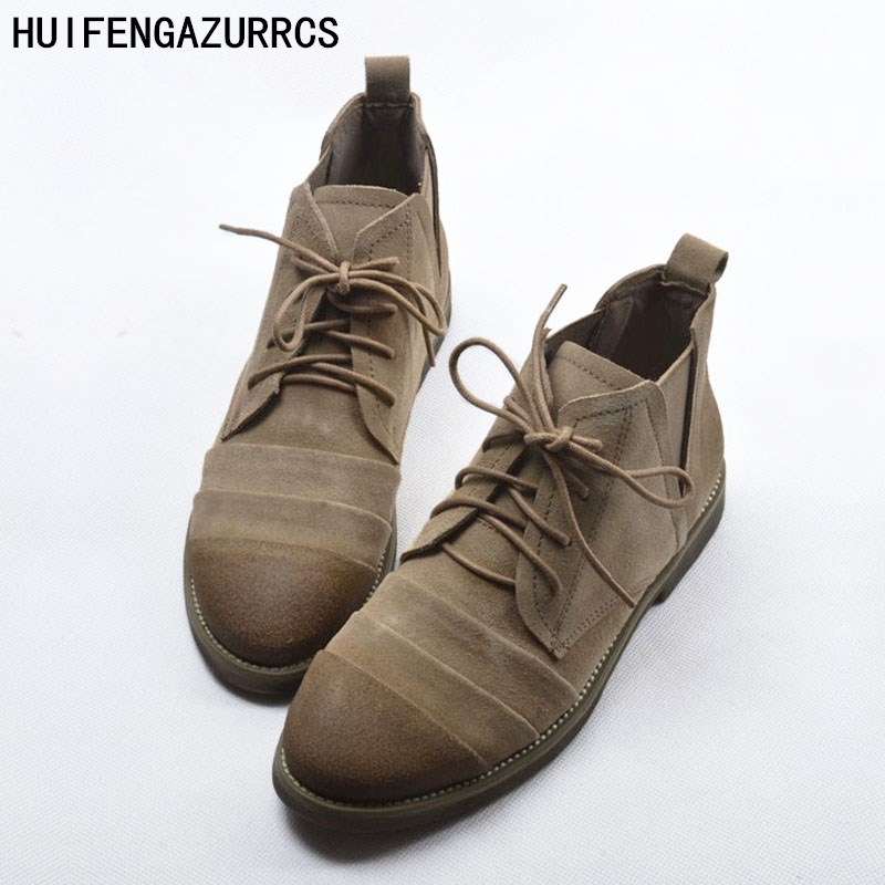 HUIFENGAZURRCS-Autumn retro, Europe and the United States flat bottomed Martin shoes tide do old frosted leather tie short boots dreambox europe and the united states men s wear thick soled shoes horsehair breathable leather shoes