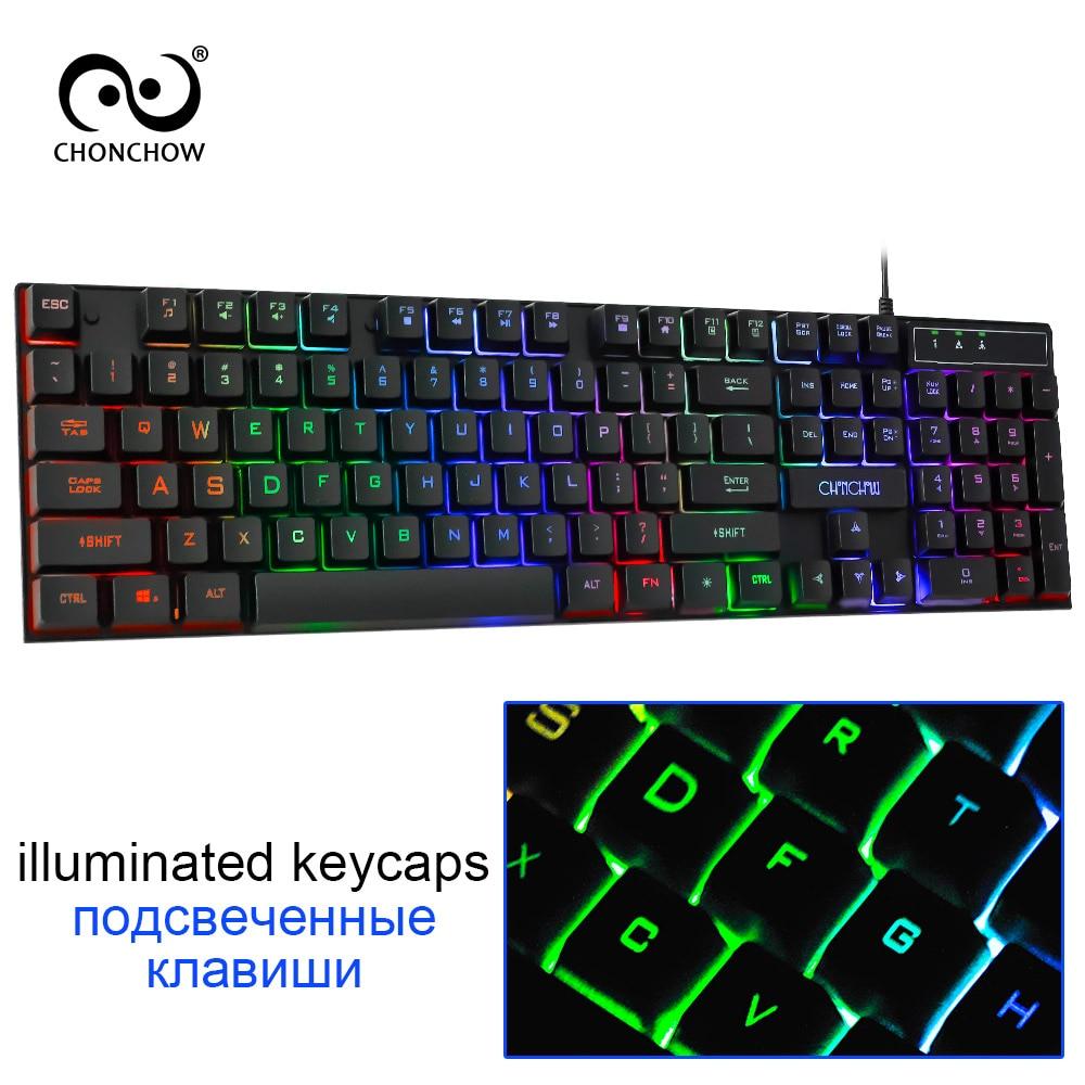 CHONCHOW Retroilluminata Gaming Keyboard Arcobaleno Colorato Led Della Tastiera di Trasporto Russo Spagnolo Francese Layout Sticker Tastiera Wired Gamers