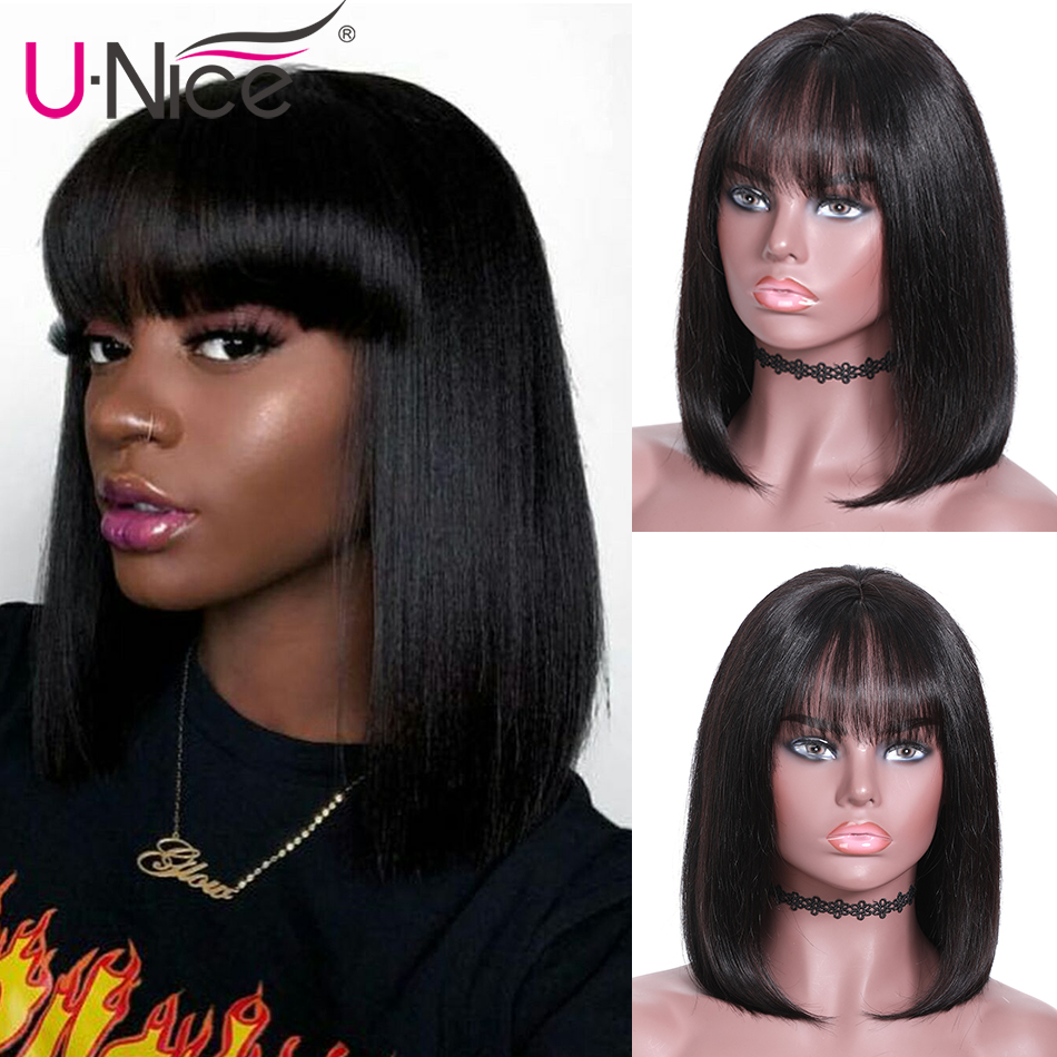Unice Hair Short Lace Front Human Hair Wig Brazilian Remy Hair Bob Wig with Bangs Lace
