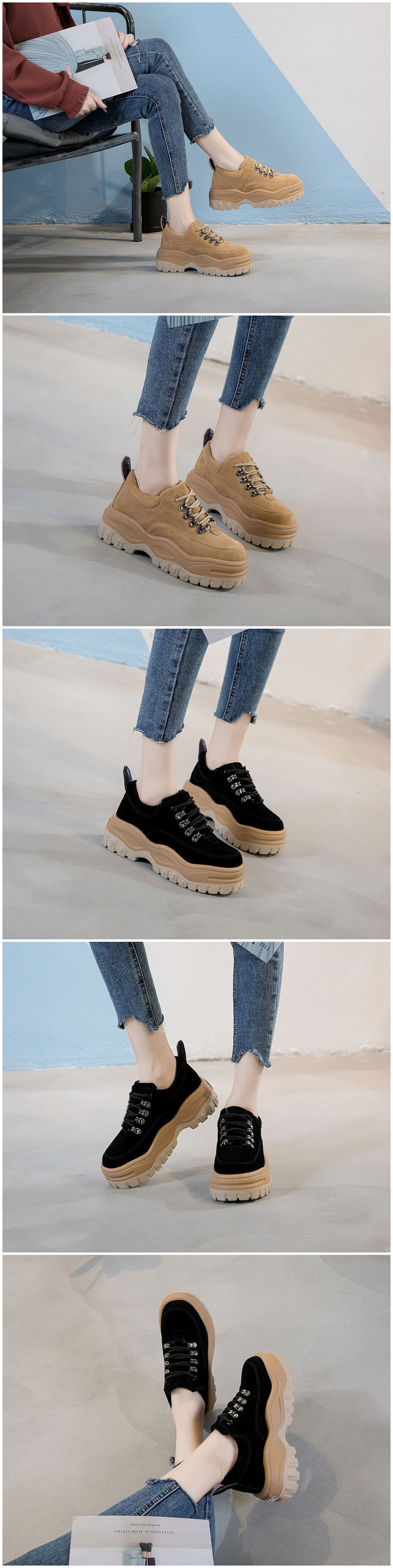 Genuine Leather Platform Sneakers Woman Increased Internal Casual Shoes Female Cow Hide Leather