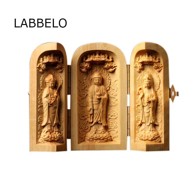 3pcs tri ukrivljene buda figurice bodhisattva budizem kip odprta škatla nosijo lesene obrti rezbarenje budistične veleprodajne dekoracije