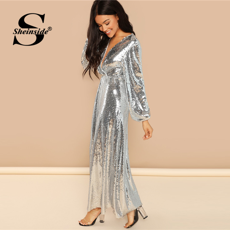 Sheinside Silver V Neck Wrap Sequin Dress Women Bishop Sleeve Long Party  Dresses 2018 Autumn Fashion Ladies Clothes Maxi Dress-in Dresses from  Women s ... 46f4844a6263