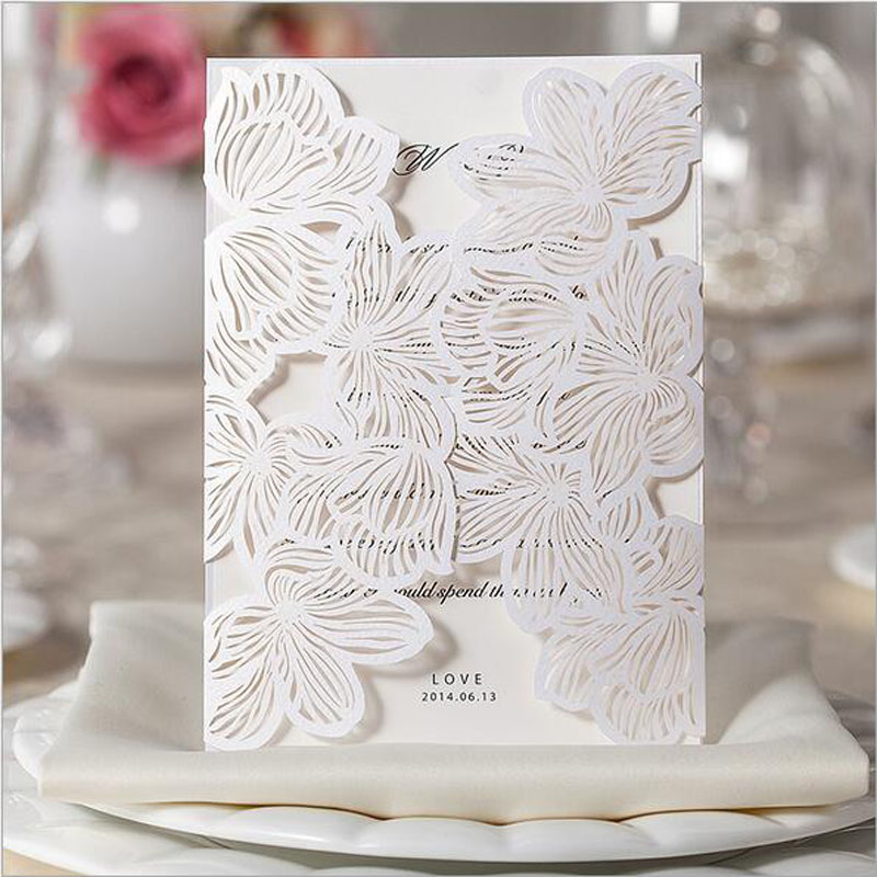 1pcs sample hollow white rose flower laser cut wedding invitations card personalized custom envelope - How To Address Wedding Invitations Without Inner Envelope