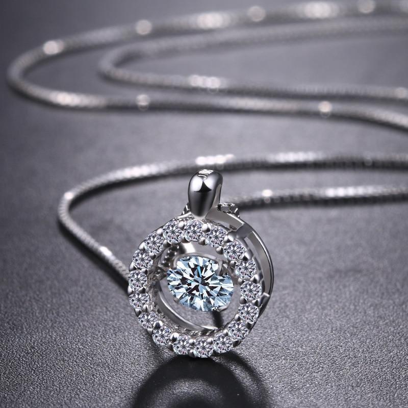925 ezüst nyaklánc európai divat kristály kerek medálok remek - Finom ékszerek