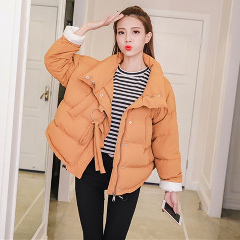 Buns clothing cotton women short section 2017 Korean version of the new winter clothes loose cotton bat cotton jacket tide sky blue cloud removable hat in the long section of cotton clothing 2017 winter new woman