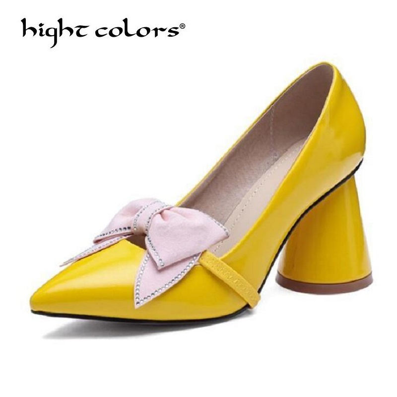Black Yellow Apricot Women Bow Mary Janes High Heels Shoes Elegant Thick Heel Pumps For Comfortable Women's Shoes Big Size 34 43