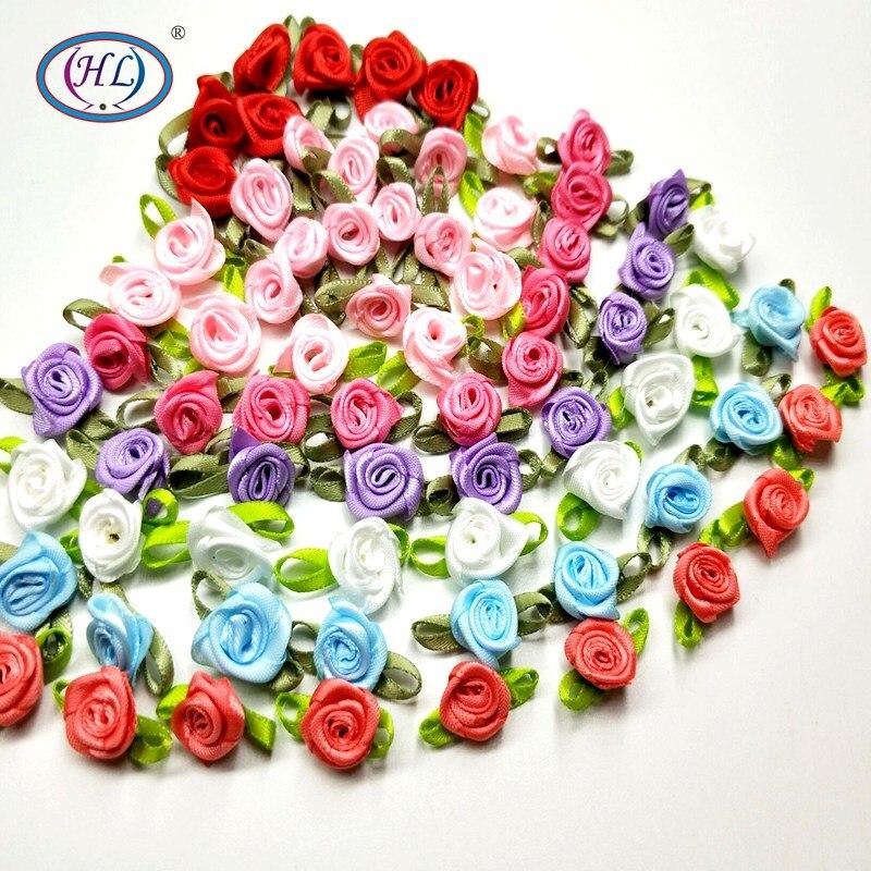 HL 50 PCS Mini Flores Artificiais Cabeças Fazer Rosas De Fita de Cetim Handmade Artesanato DIY Para A Decoração Do Casamento Apliques