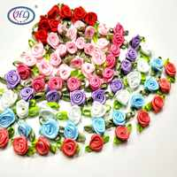 HL 50PCS Mini Artificial Flowers Heads Make Satin Ribbon Roses Handmade DIY Crafts For Wedding Decoration Appliques