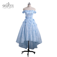 Elegant Off The Shoulder Long Lace Prom Dresses 2017 3D Floral Flowers Sexy Short Front Long