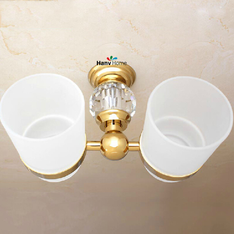 Buy golden crystal brass glass bathroom for Gold glass bathroom accessories
