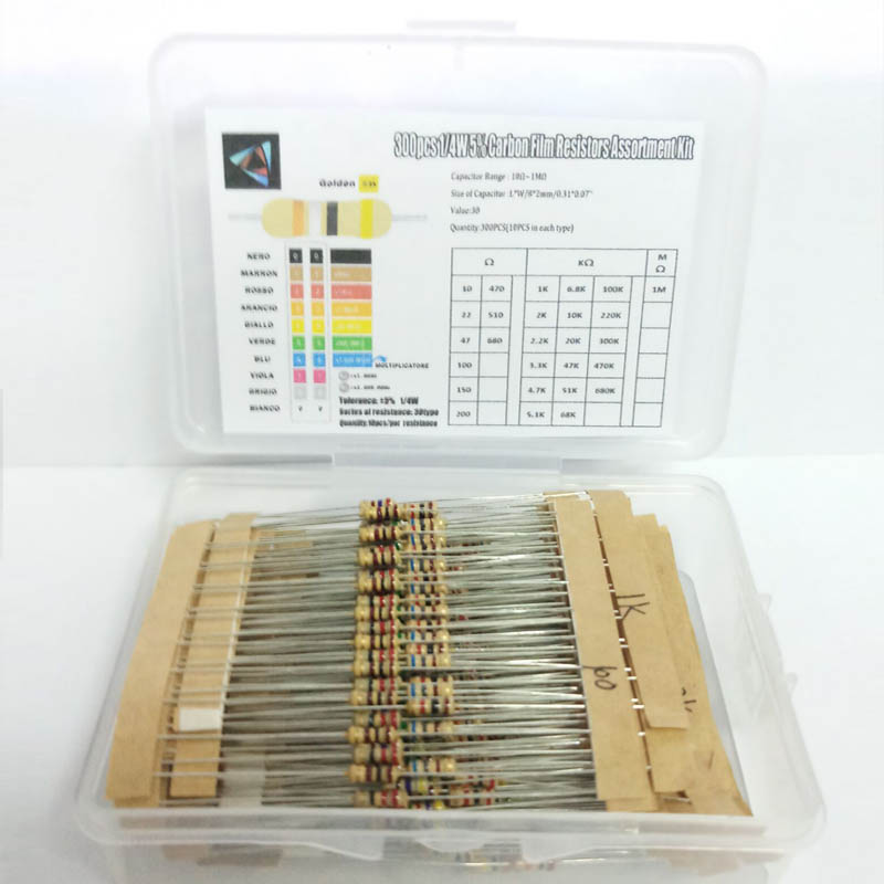 300Pcs 1/4W 5% 10 Ohm ~1M Ohm Resistors Assorted Kit Set 30 Kinds Each Value Carbon Film  Resistor Pack BOX