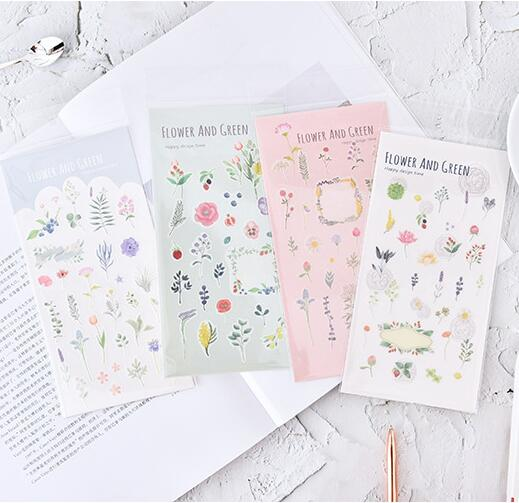 Flower And Green Decorative Washi Stickers Scrapbooking Stick Label Diary Stationery Album Stickers