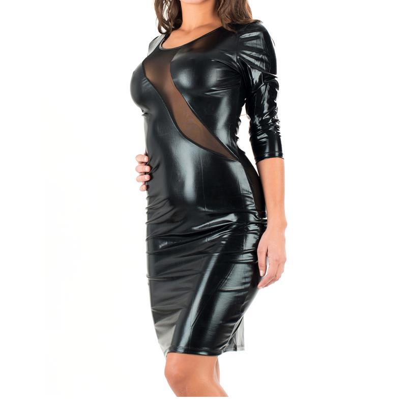 Wonder beauty Černá kožená večerní společenské šaty Pu Syntetická umělá kůže Šaty Dámské podzimní zimní šaty Poloviční rukáv W84346