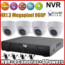 High High quality ! ONVIF 2.zero Video surveillance Safety CCTV Digicam System 960P Indoor Dome IPCamera and 4ch H.264 NVR KIT Plug&Play