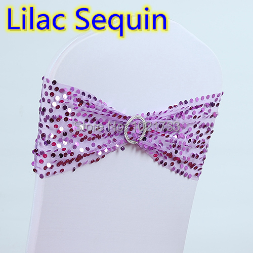 Lilac violet colour bride to be sash with buckle for chair covers lace with sequin lycra band spandex chair sash bow tie on sale