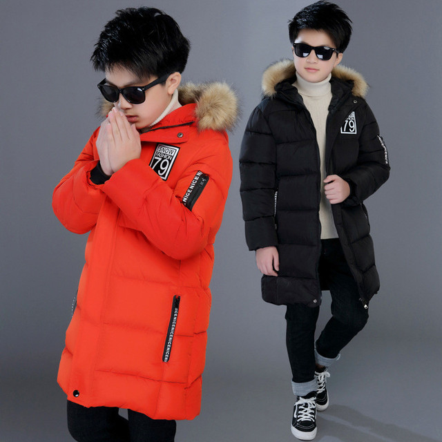 a1f7ebcb8 US $24.43 20% OFF|Winter Jacket 4 14 Years Boys Orange Down Coats Hooded  Long Warm Thick Boys Parkas Coats Kids Outerwear Coat for Boy Clothes-in  Down ...