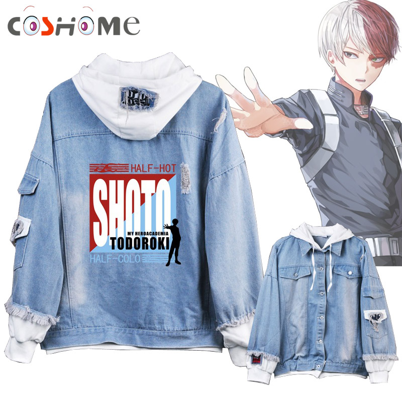 Coshome Boku No My Hero Academia Midoriya Shoto Todoroki Cosplay Hoodies Costumes Men Women Denim Jacket
