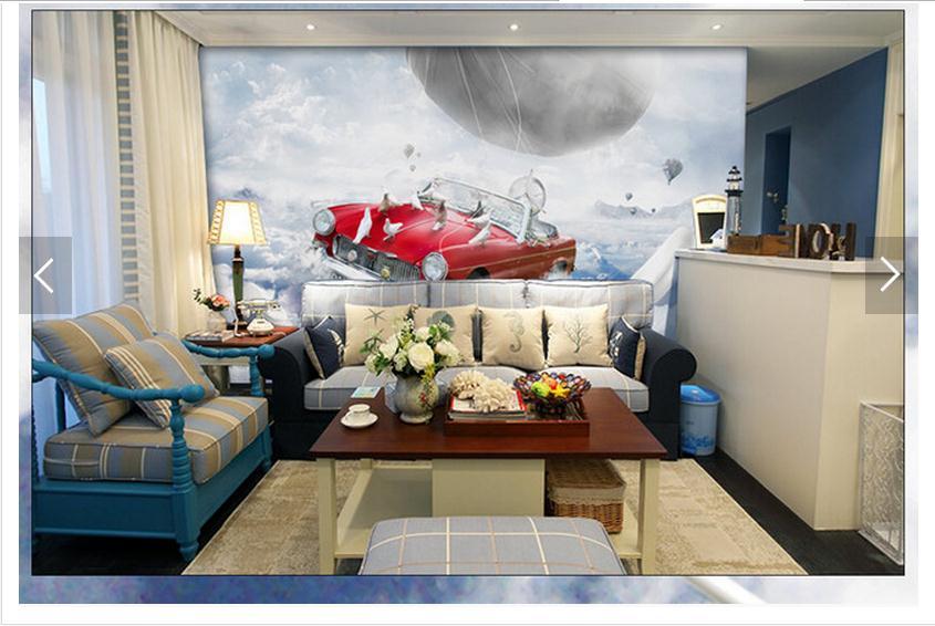 Customized 3d photo wallpaper 3d wall murals wallpaper Imagination art mural flying car living room decoration