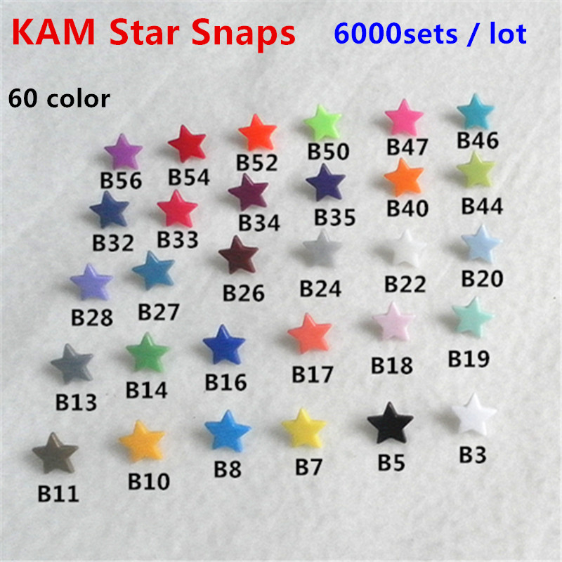 60 color DHL 6000sets KAM Star Plastic Resin Snaps Buttons Fasteners for baby Cloth Diaper