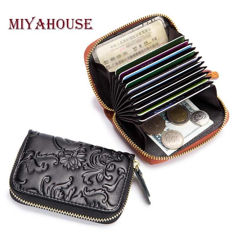 6c7df42fbef6 Miyahouse High Capacity Women Small Card Holder Wallet Flower Embossed  Zipper Change Purse Genuine Leather RFID Cards Wallet