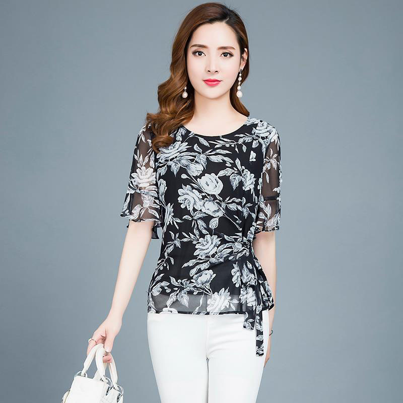 Multi-layer Women Spring Summer Style Chiffon Blouses Shirts Lady Casual Short Flare Sleeve Blusas Tops DD1821