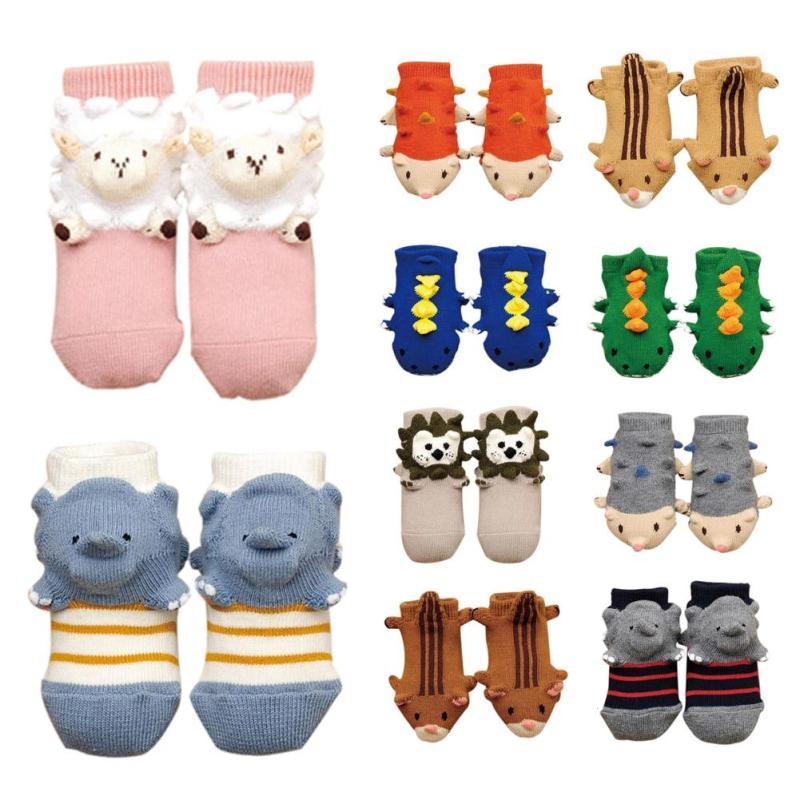 Cute baby socks Winter Cotton slippers Boots rubber Animal shape infant floor socks Anti Slip Indoor Socks meias de bebes R2
