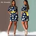 2016 summer dress fashion women dress plus tamaño xxxxxxl ropa breve o-cuello de la flor de la cintura delgada vestidos