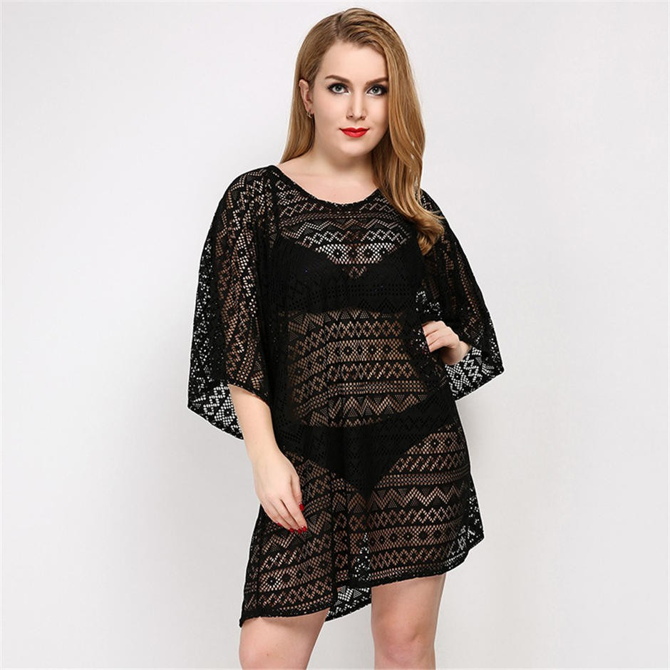 17 Solid Women Cover up Crochet Loose Bathing suit One piece Swimsuit Female Sexy Beach blouse Hollow out knitting Cover-ups 8