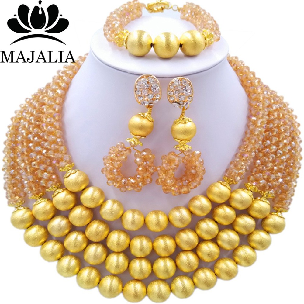 Majalia Fashion Gold ab Nigerian Wedding African Jewelry Set Crystal Necklace Bride Jewelry Sets Free Shipping 3LI016