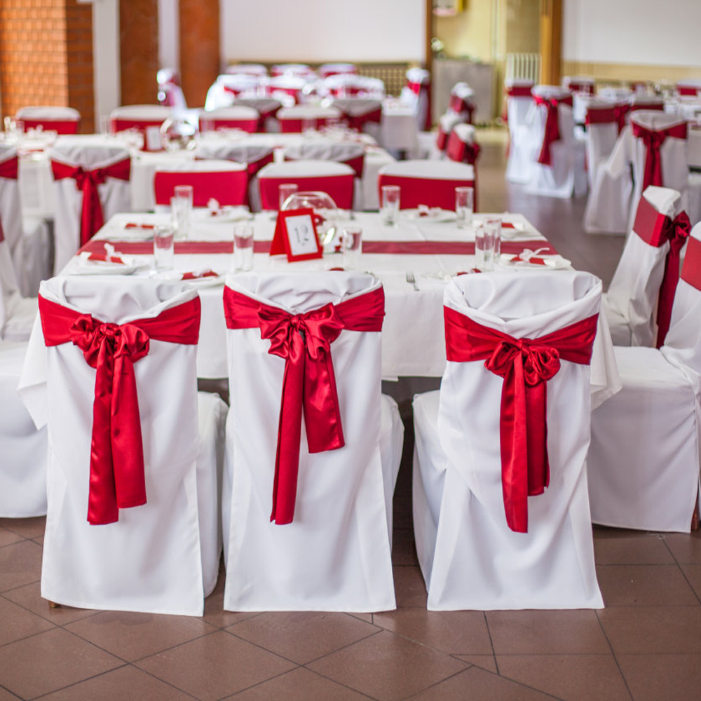 Free Shipping 25pcs/lot Wedding Chairs Knot Sash Satin Fabric Chair Sashes Bow Cover For Wedding Party Banquet Event Decorations